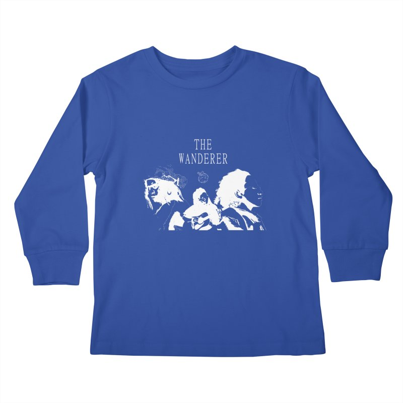 The Wanderer - Monochromatic White Kids Longsleeve T-Shirt by Strange Froots Merch