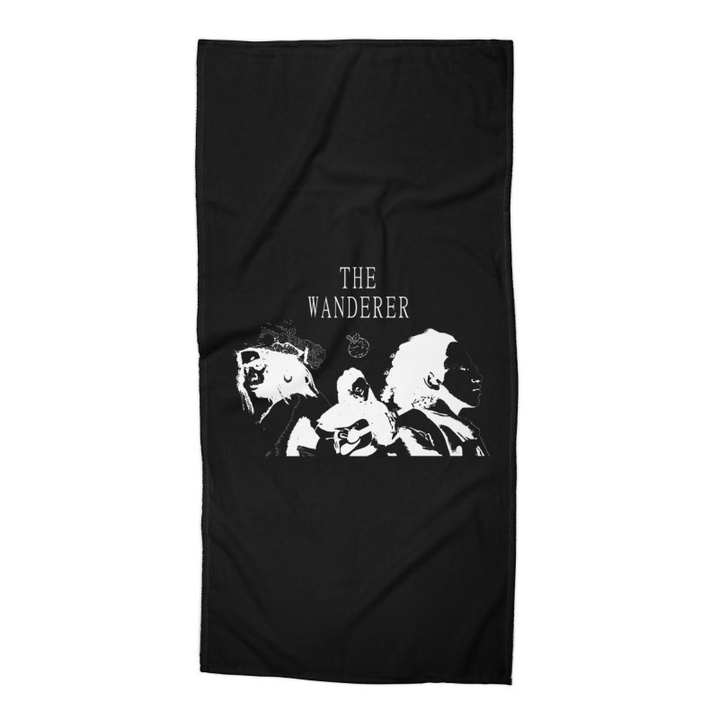 The Wanderer - Monochromatic White Accessories Beach Towel by Strange Froots Merch