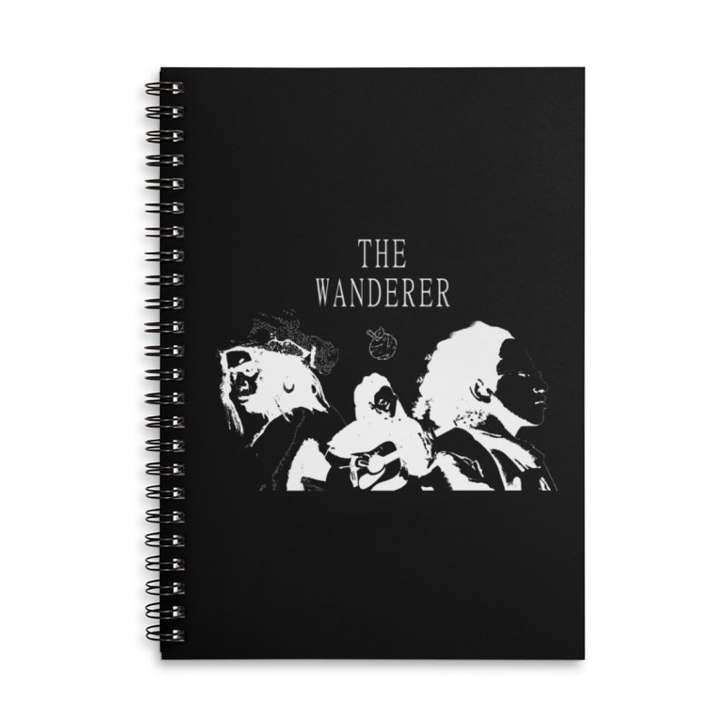 The Wanderer - Monochromatic White Accessories Lined Spiral Notebook by Strange Froots Merch