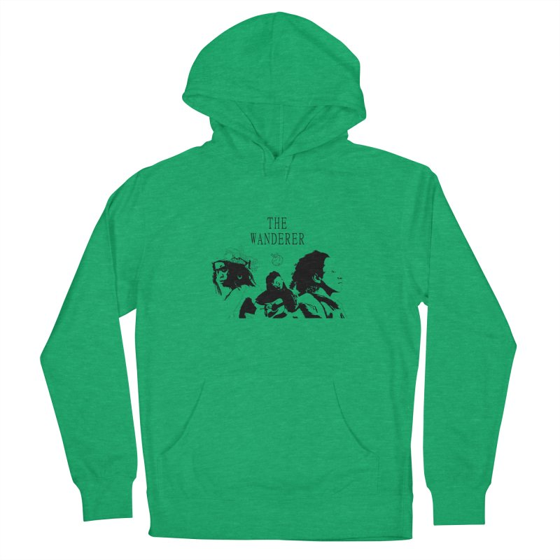 The Wanderer - Monochromatic Black Men's French Terry Pullover Hoody by Strange Froots Merch