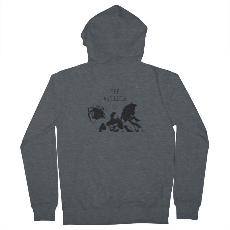 The Wanderer - Monochromatic Black Men's French Terry Zip-Up Hoody by Strange Froots Merch