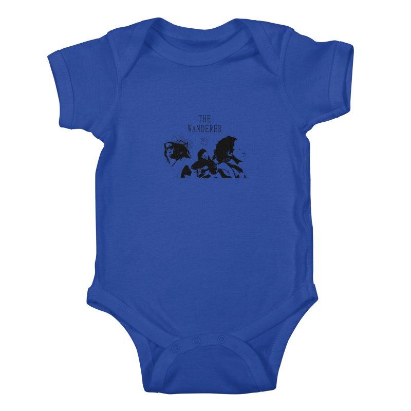 The Wanderer - Monochromatic Black Kids Baby Bodysuit by Strange Froots Merch