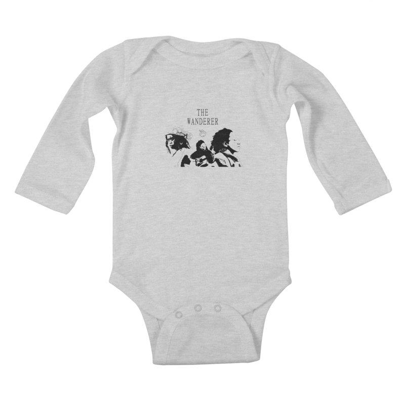 The Wanderer - Monochromatic Black Kids Baby Longsleeve Bodysuit by Strange Froots Merch