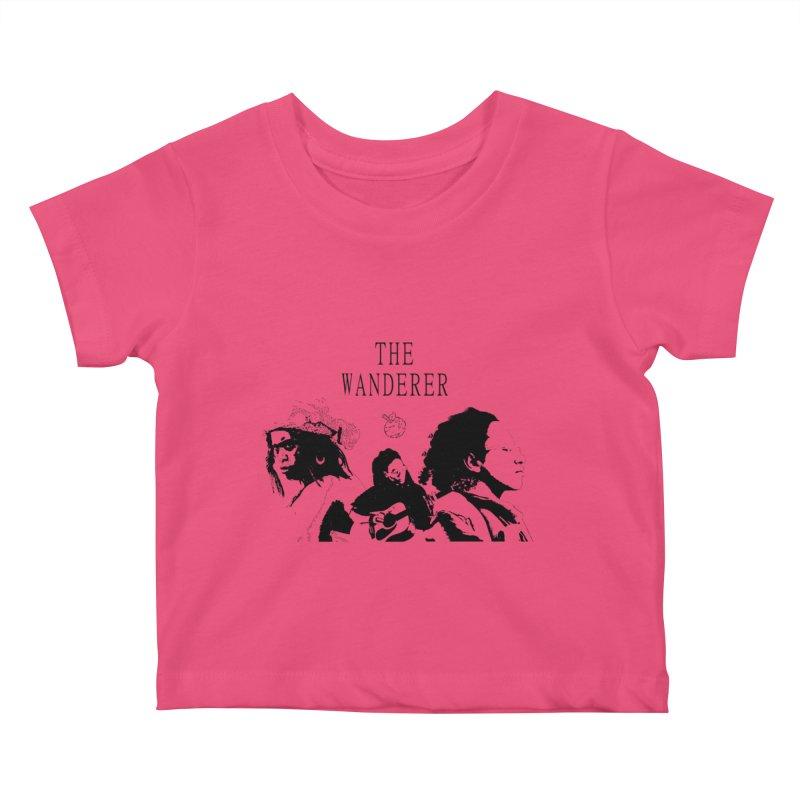 The Wanderer - Monochromatic Black Kids Baby T-Shirt by Strange Froots Merch