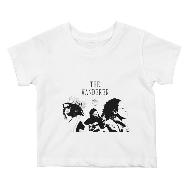The Wanderer - Monochromatic Black Kids Baby T-Shirt by Strange Froots Merch