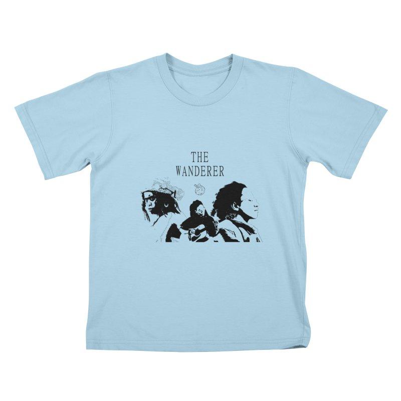 The Wanderer - Monochromatic Black Kids T-Shirt by Strange Froots Merch