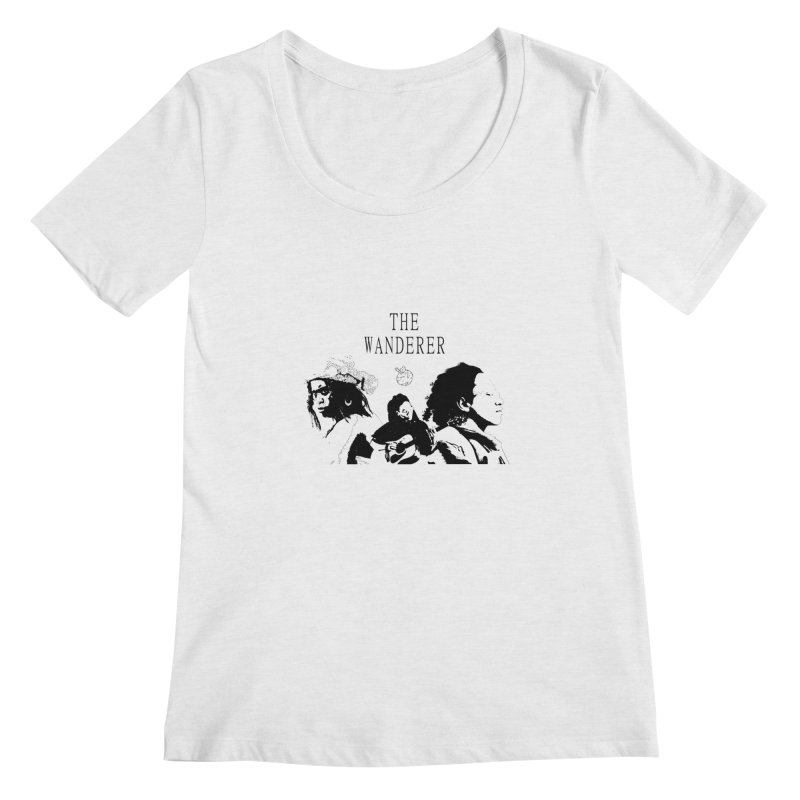 The Wanderer - Monochromatic Black Women's Regular Scoop Neck by Strange Froots Merch