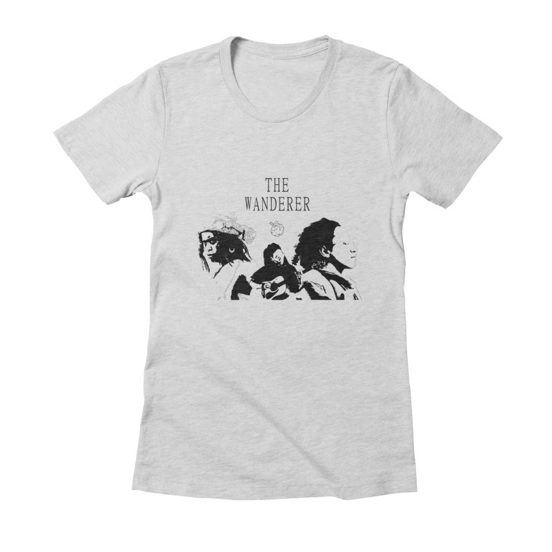 The Wanderer - Monochromatic Black Women's Fitted T-Shirt by Strange Froots Merch