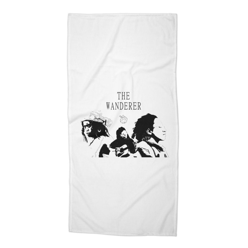 The Wanderer - Monochromatic Black Accessories Beach Towel by Strange Froots Merch