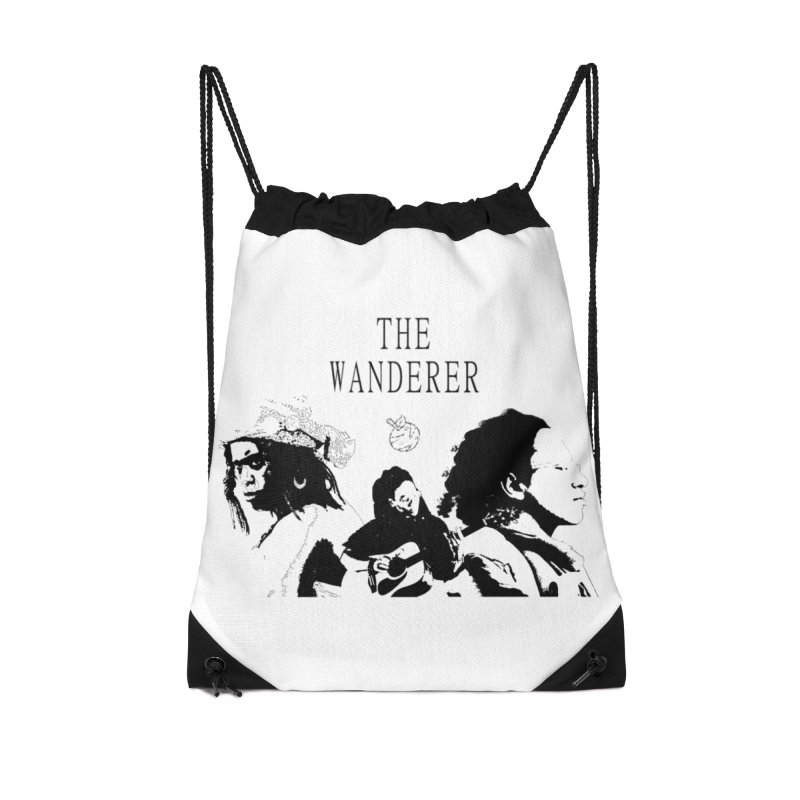 The Wanderer - Monochromatic Black Accessories Drawstring Bag Bag by Strange Froots Merch