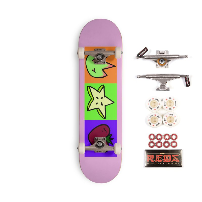 Individual Froot Logos Full Color Accessories Complete - Pro Skateboard by Strange Froots Merch