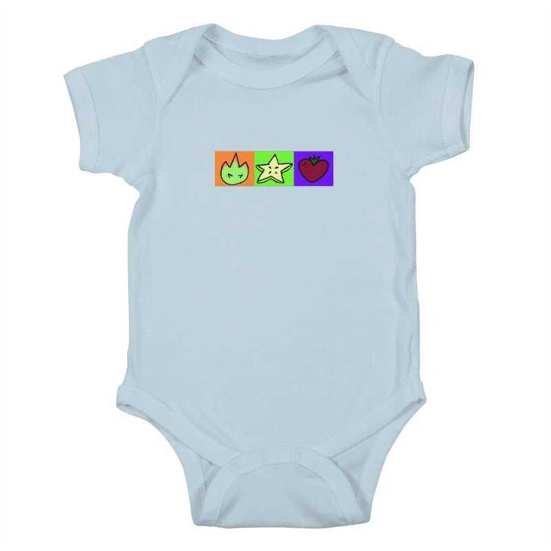Individual Froot Logos Full Color Kids Baby Bodysuit by Strange Froots Merch
