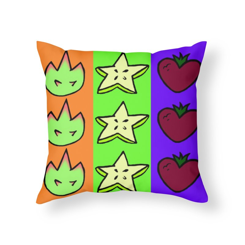 Individual Froot Logos Full Color Home Throw Pillow by Strange Froots Merch