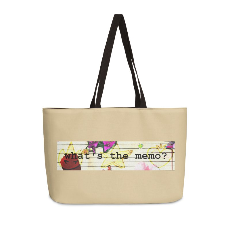 BTFFT Floral Print with Individual Logos - What's the Memo Accessories Weekender Bag Bag by Strange Froots Merch