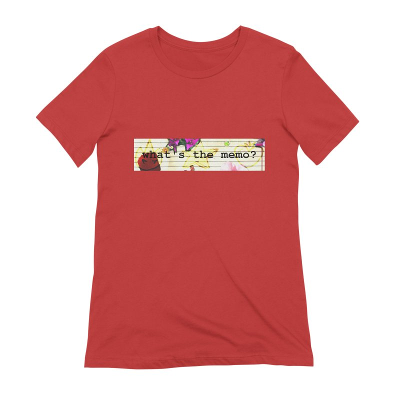 BTFFT Floral Print with Individual Logos - What's the Memo Women's Extra Soft T-Shirt by Strange Froots Merch