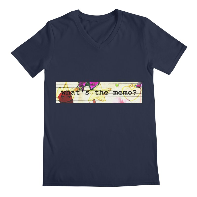 BTFFT Floral Print with Individual Logos - What's the Memo Men's Regular V-Neck by Strange Froots Merch