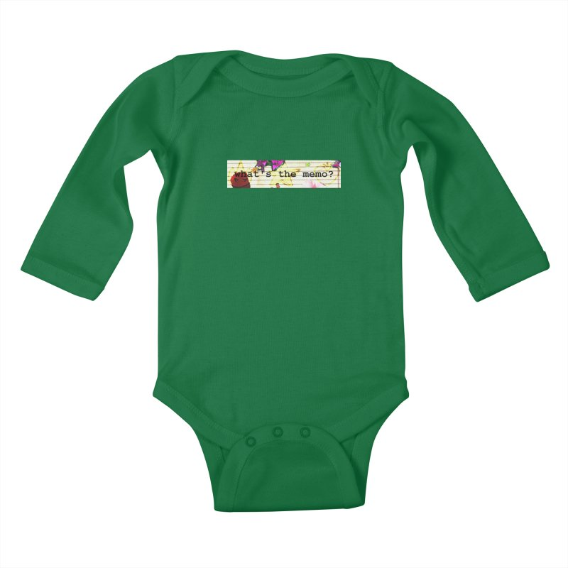 BTFFT Floral Print with Individual Logos - What's the Memo Kids Baby Longsleeve Bodysuit by Strange Froots Merch