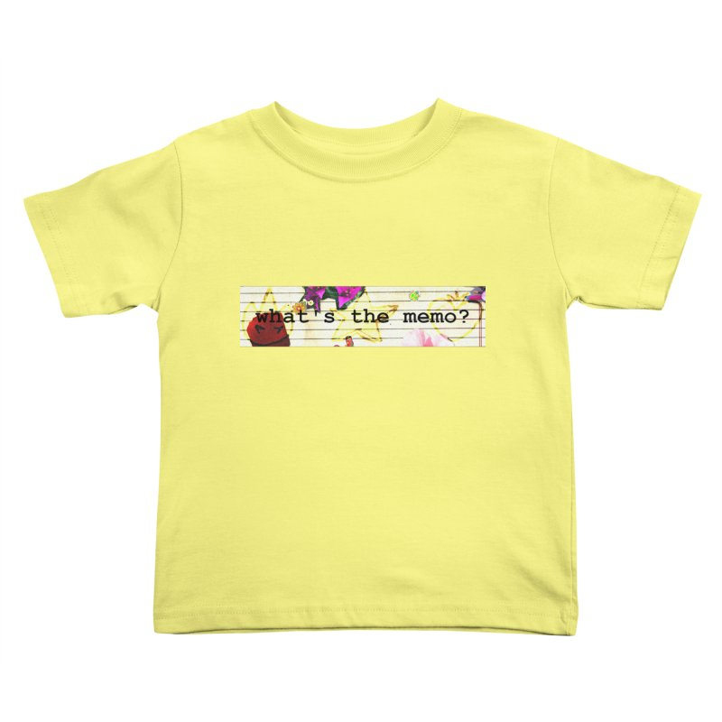 BTFFT Floral Print with Individual Logos - What's the Memo Kids Toddler T-Shirt by Strange Froots Merch