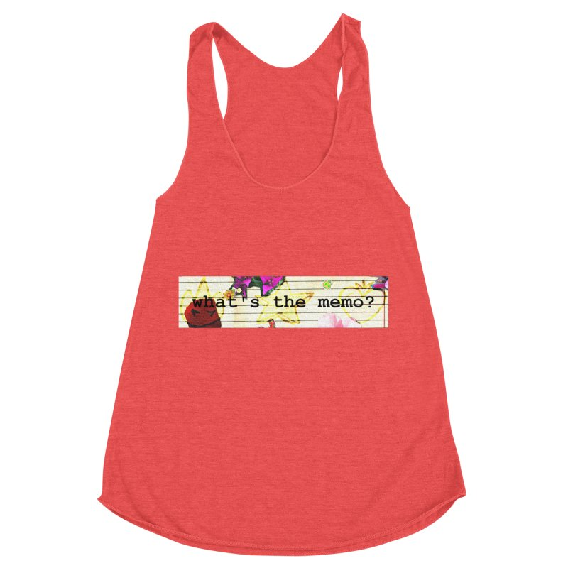 BTFFT Floral Print with Individual Logos - What's the Memo Women's Racerback Triblend Tank by Strange Froots Merch