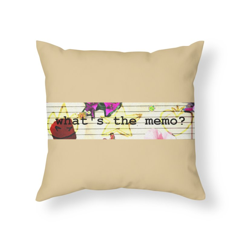 BTFFT Floral Print with Individual Logos - What's the Memo Home Throw Pillow by Strange Froots Merch