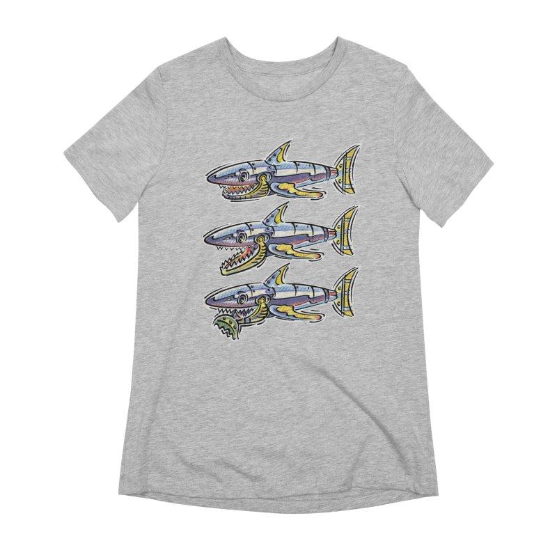 Shark Eat Women's Extra Soft T-Shirt by thethinkforward's Artist Shop