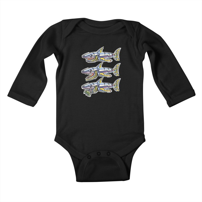 Shark Eat Kids Baby Longsleeve Bodysuit by thethinkforward's Artist Shop