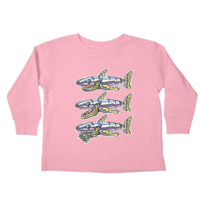 Shark Eat Kids Toddler Longsleeve T-Shirt by thethinkforward's Artist Shop