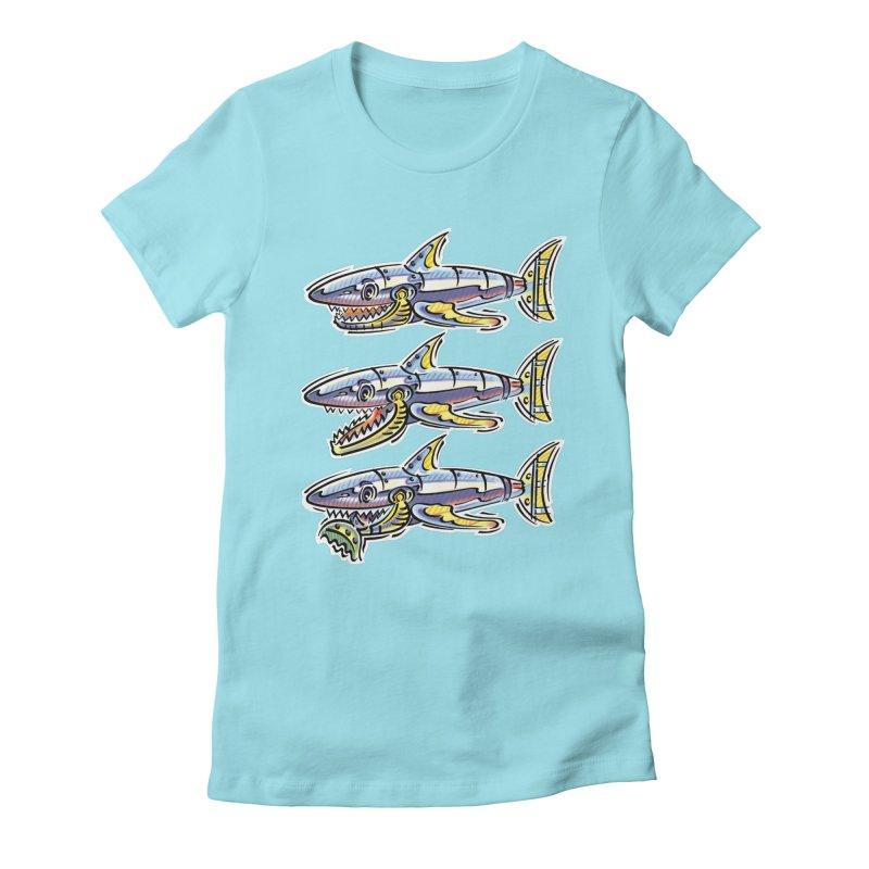 Shark Eat Women's Fitted T-Shirt by thethinkforward's Artist Shop
