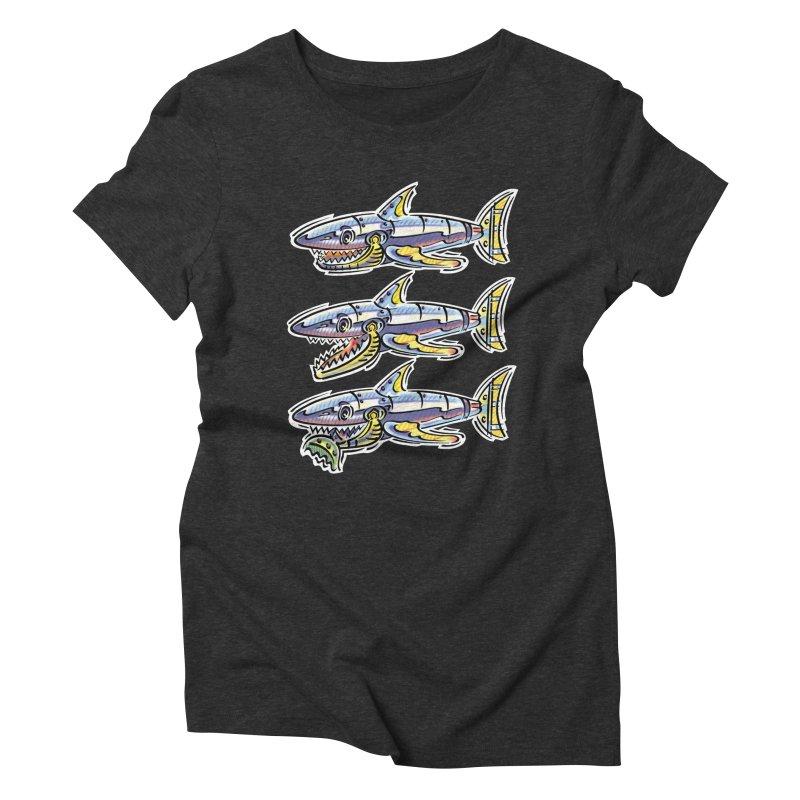 Shark Eat Women's Triblend T-Shirt by thethinkforward's Artist Shop