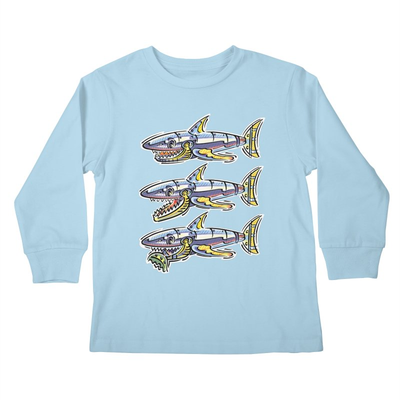 Shark Eat Kids Longsleeve T-Shirt by thethinkforward's Artist Shop