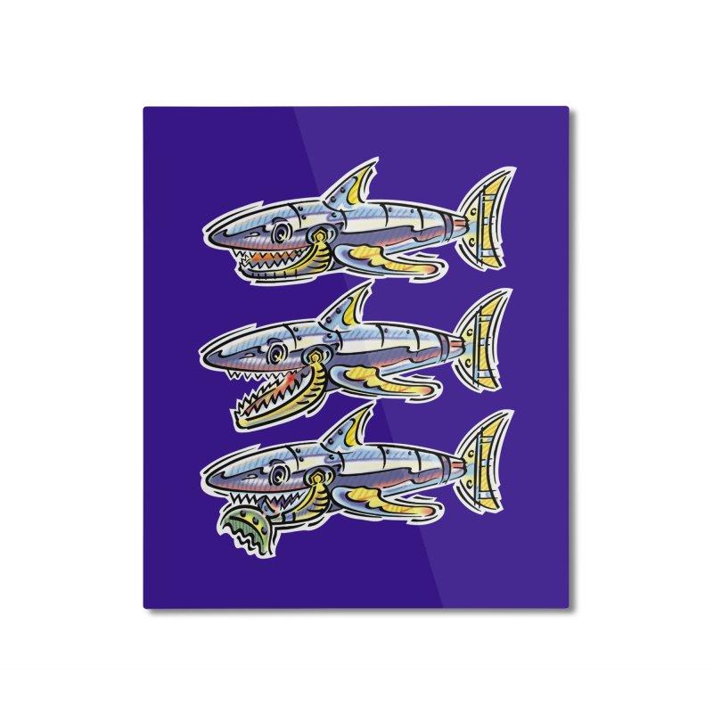 Shark Eat Home Mounted Aluminum Print by thethinkforward's Artist Shop