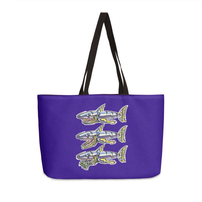 Shark Eat Accessories Weekender Bag Bag by thethinkforward's Artist Shop