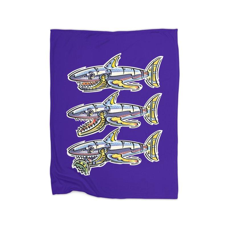 Shark Eat Home Fleece Blanket Blanket by thethinkforward's Artist Shop