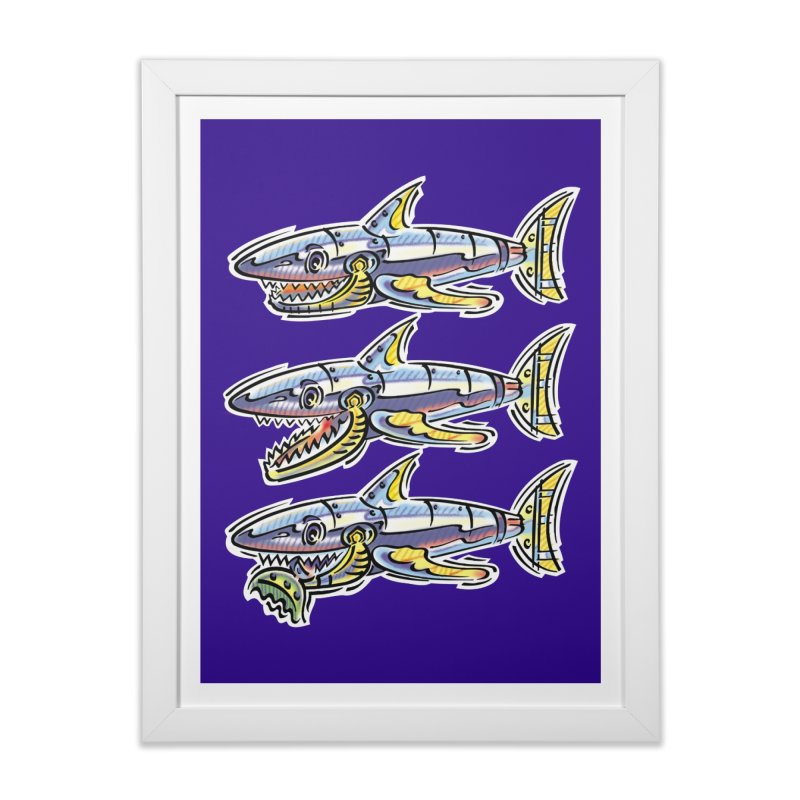 Shark Eat Home Framed Fine Art Print by thethinkforward's Artist Shop