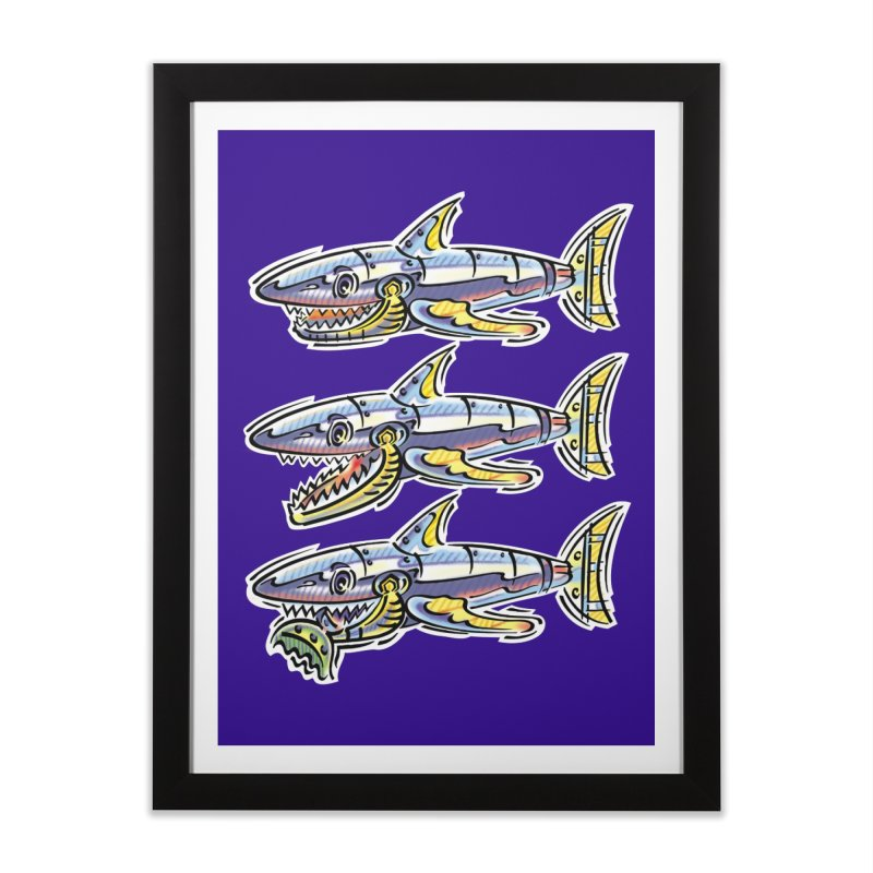 Shark Eat Home Framed Fine Art Print by thethinkforward's Artist Shop