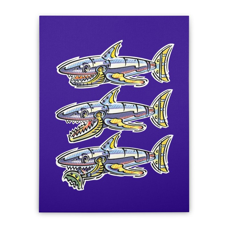 Shark Eat Home Stretched Canvas by thethinkforward's Artist Shop