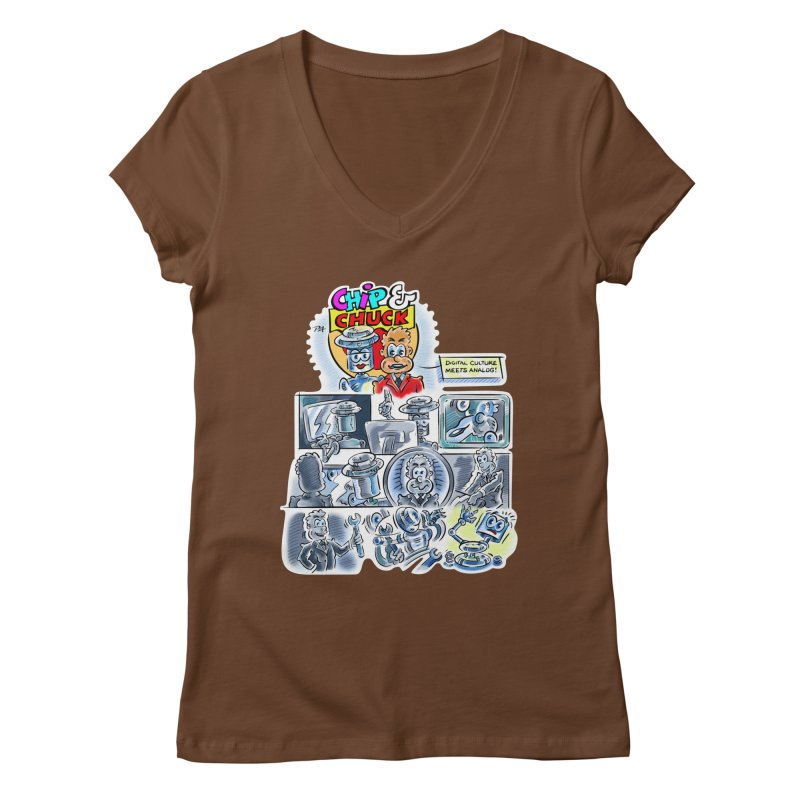 Chip & Chuck Analog Women's Regular V-Neck by thethinkforward's Artist Shop