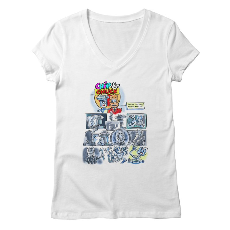 Chip & Chuck Analog Women's V-Neck by thethinkforward's Artist Shop