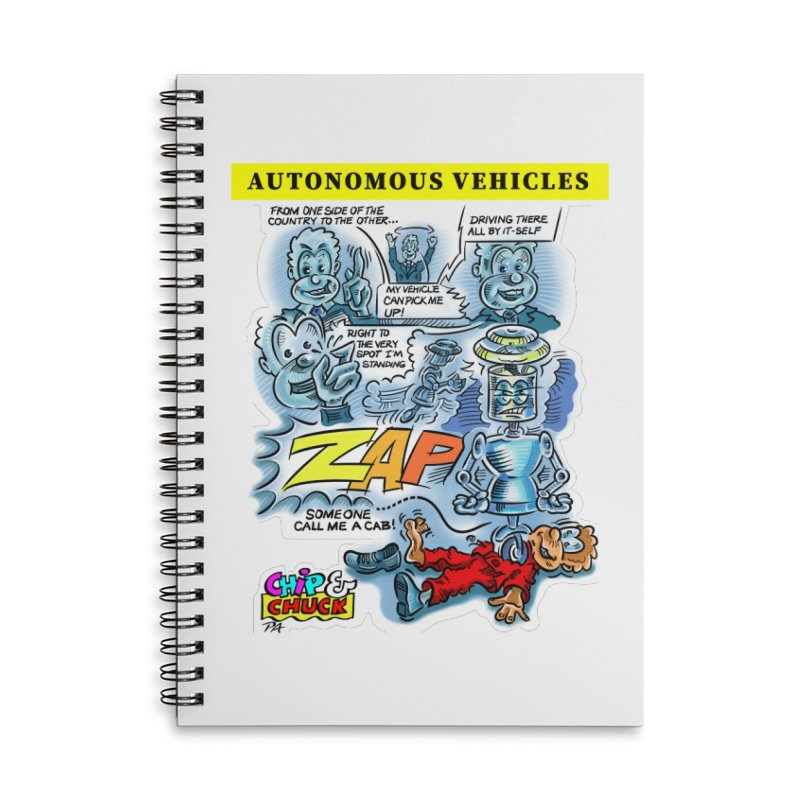 CHIP goes driving Accessories Lined Spiral Notebook by thethinkforward's Artist Shop