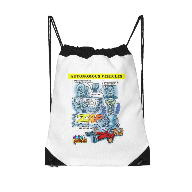 CHIP goes driving Accessories Drawstring Bag Bag by thethinkforward's Artist Shop