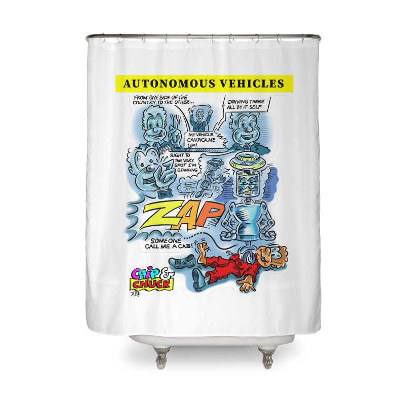 CHIP goes driving Home Shower Curtain by thethinkforward's Artist Shop