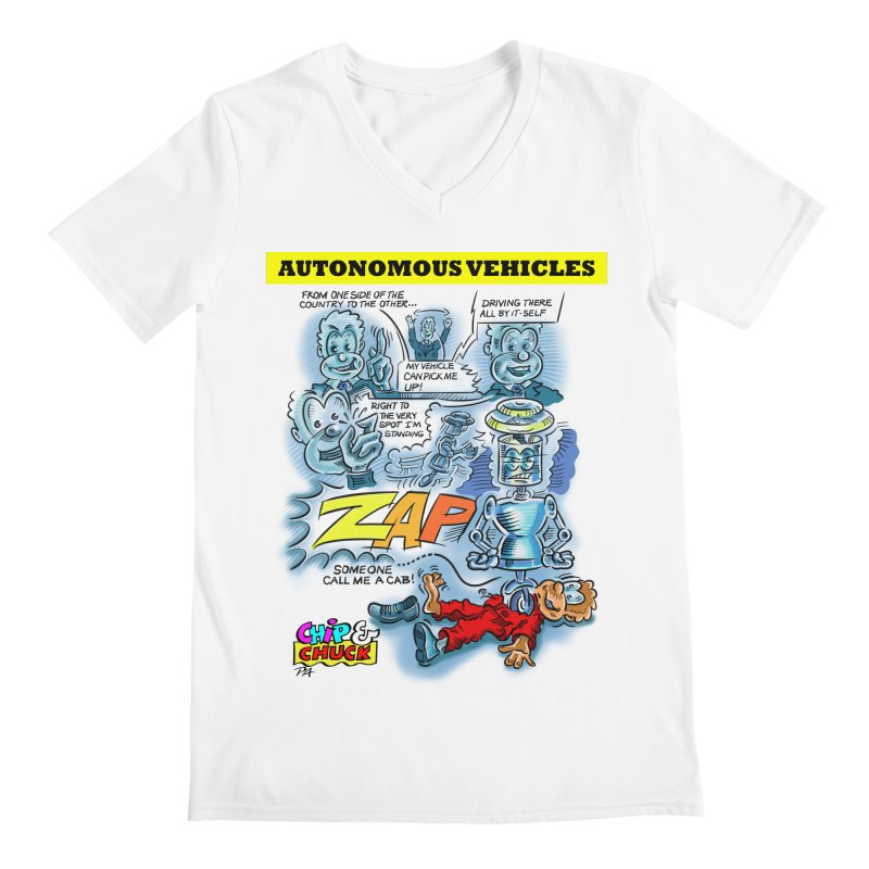 CHIP goes driving Men's Regular V-Neck by thethinkforward's Artist Shop