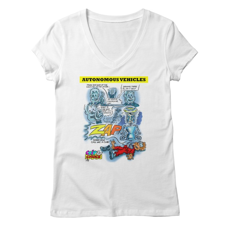 CHIP goes driving Women's V-Neck by thethinkforward's Artist Shop