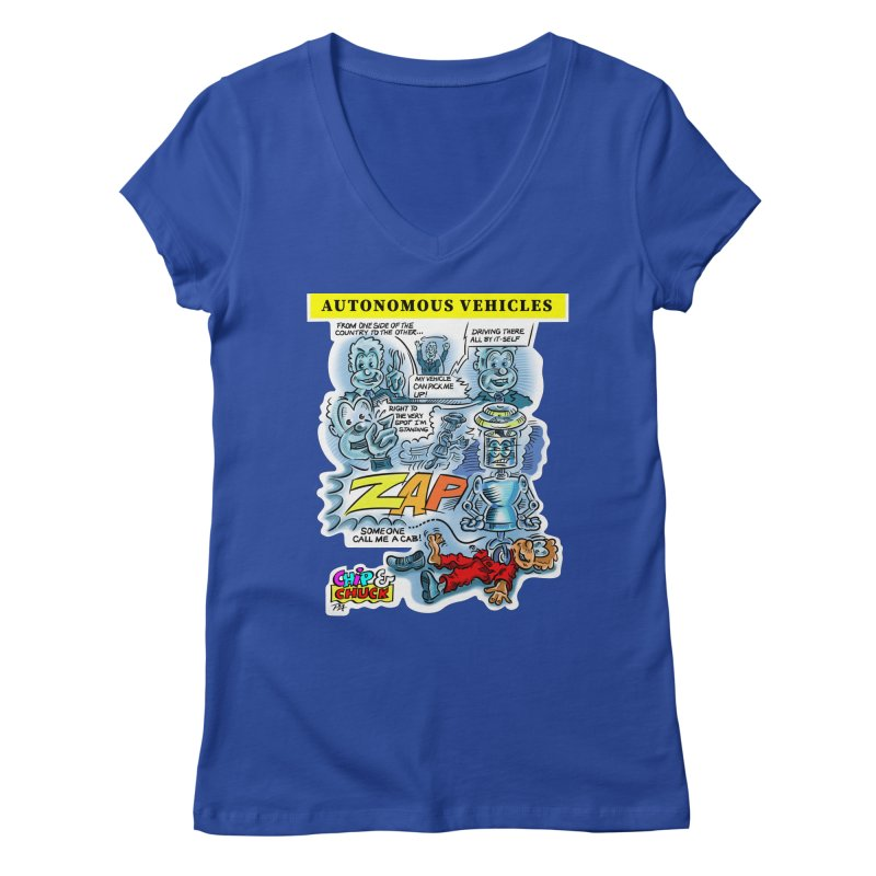 CHIP goes driving Women's Regular V-Neck by thethinkforward's Artist Shop