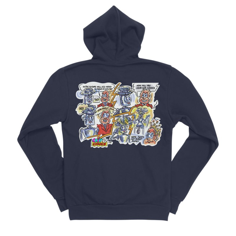 CHIP fly and robot fluid Men's Sponge Fleece Zip-Up Hoody by thethinkforward's Artist Shop