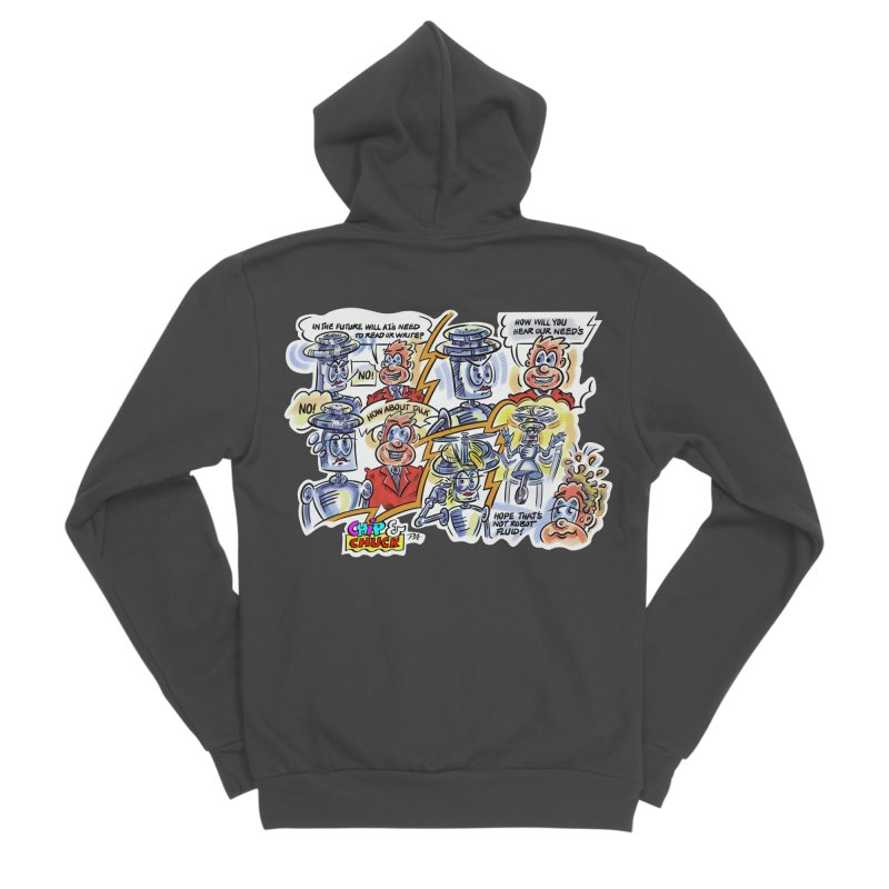 CHIP fly and robot fluid Women's Sponge Fleece Zip-Up Hoody by thethinkforward's Artist Shop