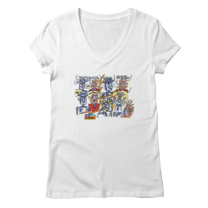 CHIP fly and robot fluid Women's V-Neck by thethinkforward's Artist Shop