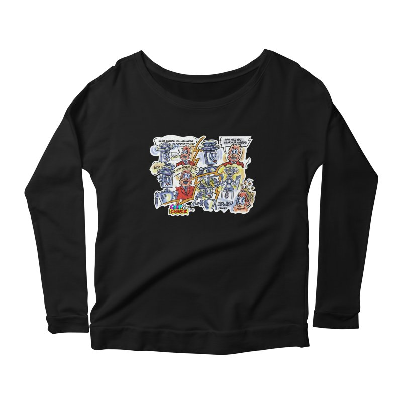 CHIP fly and robot fluid Women's Scoop Neck Longsleeve T-Shirt by thethinkforward's Artist Shop