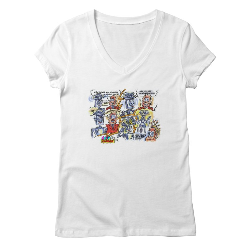 CHIP fly and robot fluid Women's Regular V-Neck by thethinkforward's Artist Shop