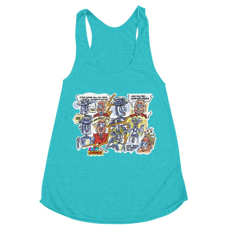 CHIP fly and robot fluid Women's Racerback Triblend Tank by thethinkforward's Artist Shop